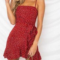 Women casual summer dot print beachwear holiday 4 color red black ruffles short mini dress