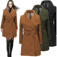 New Design Winter Ladies Belt Khaki Women Trench Coat Female Wool Coat