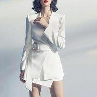 2018 New Fashion Design V Neck White Elegant Women Suit Two Piece Set Women OL Formal Casual Maxi Dress