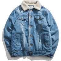 In stock sherpa denim slim fit plain winter three colors jeans jacket for men