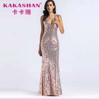 Party sequin mermaid sexy gown women maxi formal evening dress