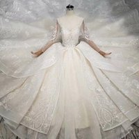 Long Sleeves Lace Alibaba Wedding Dress Crystal Rhinestone Sash Cheap Wedding Dress