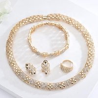 S10132A New Fashion Jewelry, Gold Plated Earring Bracelet Necklace Ring Wedding Jewelry Set With Zircon Design For Women