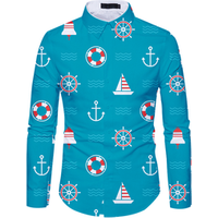 Europe Style All Over Sublimation Shirt Printing Long Sleeve Shirt Design Dress Shirts For Men