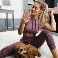 2018 Wholesale Women Sports Gym Yoga Suit Tops Blouses Workout Activewear 2 Piece Crop Top and Leggings Set