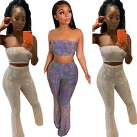 Fashion Stylish Sequined Strapless Crop Top And Long Flare Pants Sexy Women Club Suit Two Piece Pants Set