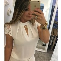 2018 Summer New Women Fashion Sexy Lace Patchwork Short Sleeve T-shirts Casual Cotton Women Tops Plus Size Blouse