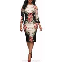 80307-MX2 New design sexy ladies three quarters sleeves floral women dress