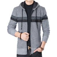 winter fashion hooded classic zipper man thick knitted cardigan