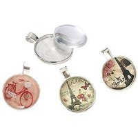 25mm Silver Pendant Trays with Glass Cabochon Setting Pendant Blank Base for Jewelry Making
