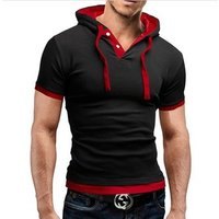 Hot Sale 8 Color M-5XL Mens  Casual Shirt Short Sleeve Slim Fit Casual Clothing Hooded Tops Summer Male T Shirt EDT08