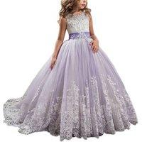 OEM princess little girls dresses fancy girls birthday party dresses full length kids ball gown flower girls pageant dress