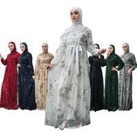 Hijab Abaya Femme Dubai Moroccan Turkish Turkey Women Bandage Muslim Dress Bangladesh Kaftan Islamic Clothing Caftan Black White