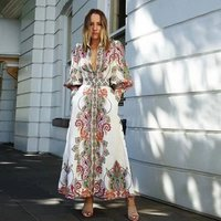 Christmas New design long sleeve maxi shirt dress  A line puff sleeve full print  cocktail wear women  hot sell coat A3017