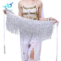 2019 Hot Sale Chiffon Dangling Sequin Tassel Wrap Belt Hip Skirt Belly Dance Scarf Bollywood Costumes Music Festival Skirt
