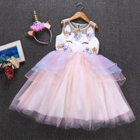 kids clothes girls unicorn dress/Childrens evening Dresses Unicorn birthday party dresses kids brand clothes