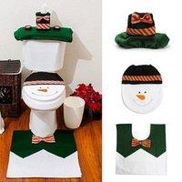 Christmas Santa Bathroom Sanitary Toilet Seat Cover and Rug Set