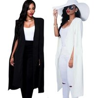 Womens Fashion Coat  Long  Paragraph cloak black and white two-color fashion Occident  womens OL wind blazer