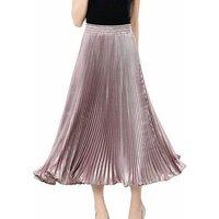 Autumn elastic band Skirt Women shinny metallic luster color Pleated Skirt High Waist A-Line with big hem Retro Midi Skirts