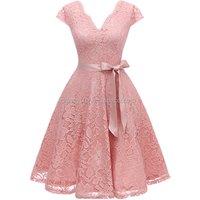 Cheap Elegant Women Floral Lace Cap Sleeves Short Evening Dress for Wedding
