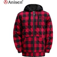 wholesale clothing manufacturer custom 100% polyester men plaids fleece jacket with hood