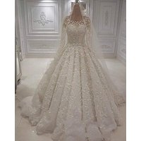 ZH1288X 2019 Luxury Wedding Dresses Jewel Neck Lace 3D Floral Applique Beaded Long Sleeve Bridal Gowns Custom Wedding Dress