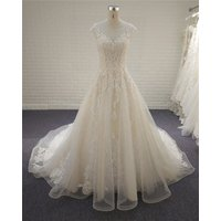 Cap Sleeve Beaded Lace A Line Wedding Dress 2019