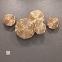 High Quality 5 pieces set Gold Sunburst Modern Decorative Wall Hanging Art and Craft Sculpture for Hotel Decoration
