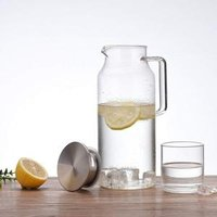 Large Capacity Water Carafe Glass Pitcher Borosilicate Water Jug with Stainless Steel Lid and Spout
