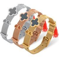 Wholesale Custom DIY Jewelry Adjustable Silver Gold Stainless Steel Mesh Slide Charm Bangle Bracelet For Women