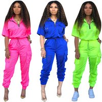 Neon Green 2 Two Piece Set Tracksuit Women Summer Outfits Top + Pant Sweat Suit Matching Sets Y11774