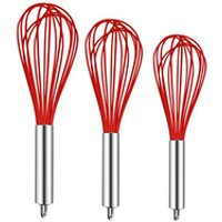 Kitchen Utensils Silicone Balloon Whisk Set Wire Whisk Egg Frother Milk and Egg Beater Blender