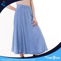 Good sealed nice optional size and color woven ladies casual denim long skirt