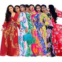 80509-MX191 African print maxi elegant dress for ladies