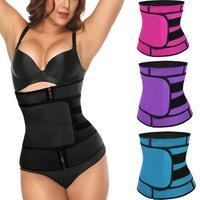 Wholesale 4 Color Plus Size Abdomen Slimming Sport Sweat Women Zipper Corset Waist Train Belt