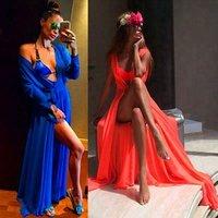 Custom Summer Women Beach Dress Cover Up Mesh Lace Dress Women Slit Beachwear