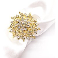 Gold FLORAL RHINESTONE NAPKIN RING