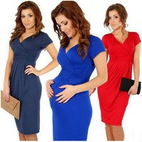 Wholesale solid maternity dresses V neck pregnancy clothes stretchy bodycon maternity clothes for pregnant women dress