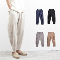 Men elastic waist casual loose trousers linen cotton harem pants