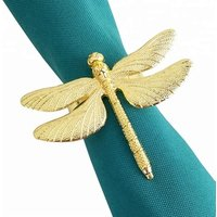gold dragonfly napkin rings for table settings