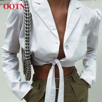 OOTN Female Summer Tops 2019 Streetwear Button Down Long Sleeve Belted Tunic Blouse Women White Shirt Sexy V Neck Wrap Crop Top