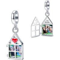 'Personalized Custom Sterling Silver 925 Photo Charm Beads Fit Pandora Bracelet Fine Jewelry For Mother's Day Gifts