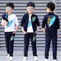 Casual 3 pcs set sport boy clothing jacket children clothes boys and girls