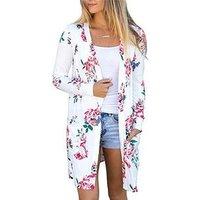 cz38052w-1# Women fashion plus size s-3xl 5 colors printed kaftan blouse top kimono cardigan