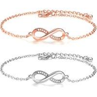 Best Friend Friendship Luck 8 Cubic Zircon Link Chain Bracelet Silver Rose Gold Initial Infinity Charm Bracelet