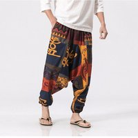 Cotton Linen Harem Loose Pants Men Trousers