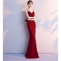 Healthy Fabric Slim Long Evening Dress side slit backless 268323
