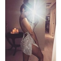 2018 Alloy Mini Club Dress Sexy Gold Patchwork Women Spaghetti Bodycon Charming Party Chain Metal Dress