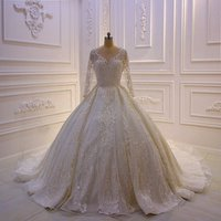 Hot Sale Beaded Top Elegant Lace Ball Gown Long Sleeve Wedding Dress 2019