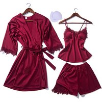 Sexy braces skirt Women Lace V neck Long sleeves Silk Satin Sleeping Dress Hot Ladies Night Wear 3 pcs Pajama